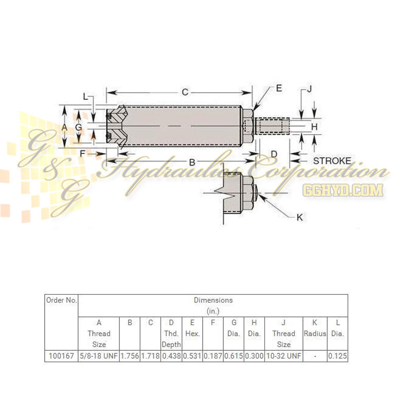 100167 Hytec Fine Threaded Body Single Acting Versatile Cylinders UPC #662536137713 Dimensions