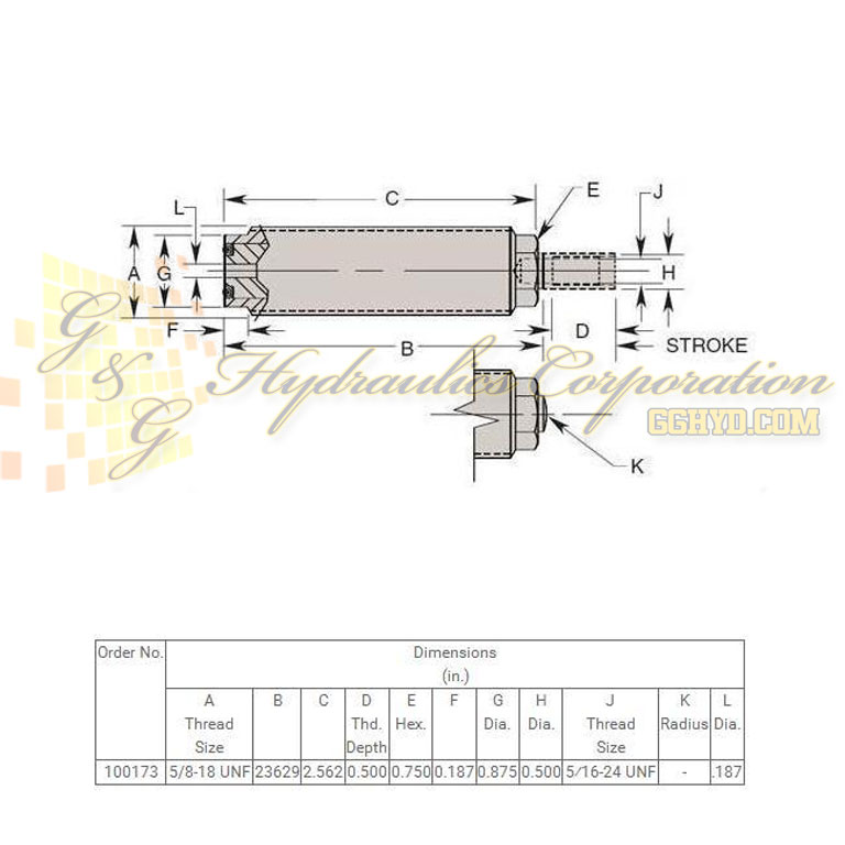 100173 Hytec Fine Threaded Body Single Acting Versatile Cylinders UPC #662536137744 Dimensions