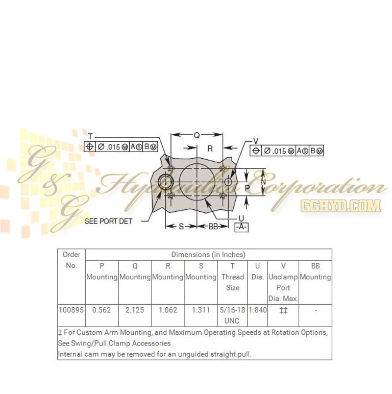 100895 Hytec Single Acting Swing_Pull Clamp Manifold Mount Upper Flange Style UPC #662536273893 - Mating Hole Pattern