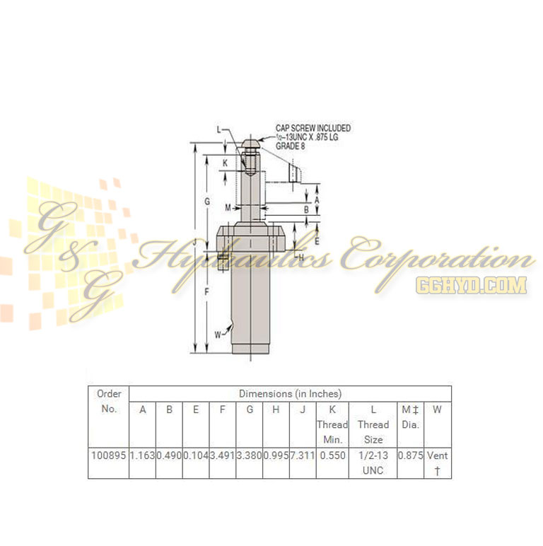 100895 Hytec Single Acting Swing_Pull Clamp Manifold Mount Upper Flange Style UPC #662536273893 - Side View