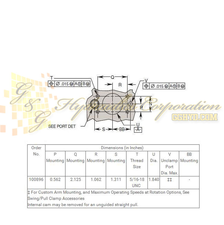 100896 Hytec Single Acting Swing_Pull Clamp Manifold Mount Upper Flange Style UPC #662536273923 - Mating Hole Pattern