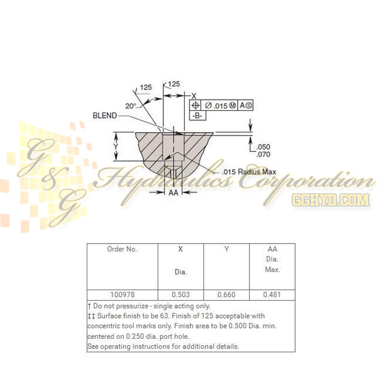 100978 Hytec Double Acting Swing_Pull Clamp Manifold Mount Upper Flange Style UPC #662536334389 - Port Detail