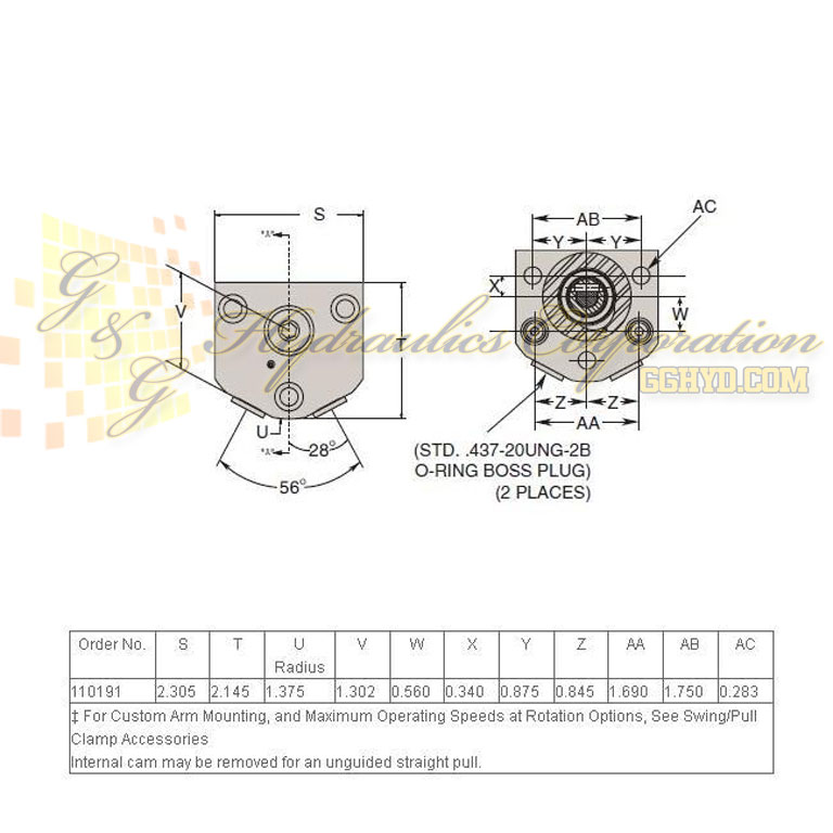 110191 Hytec Swing Clamps 1,200 lbs S/A LH Manifold Mount Upper Flange UPC #662536507196 - Mating Hole Pattern