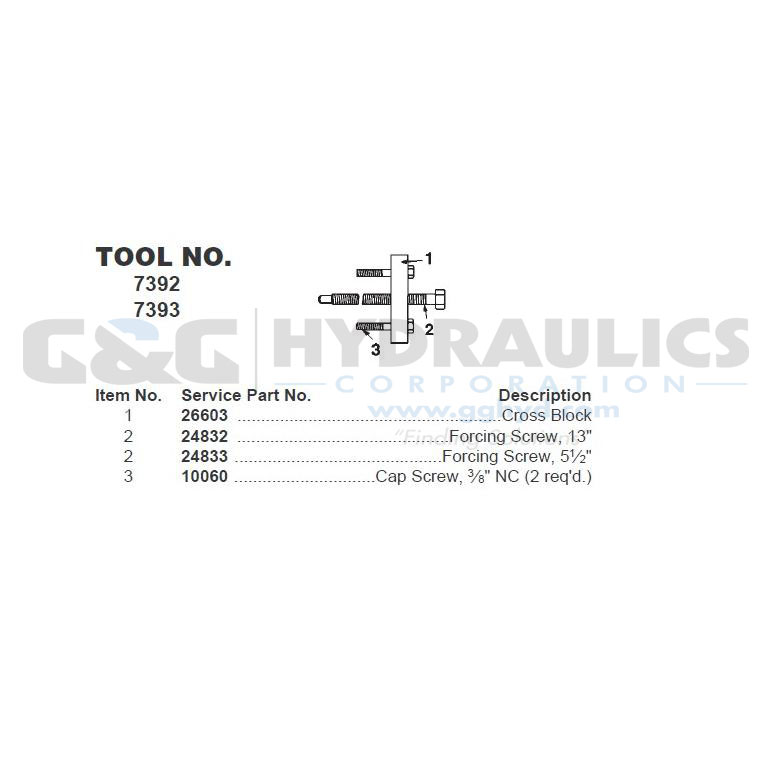 24833 SPX Power Team Screw, Force For 7392 Puller UPC #662536091589