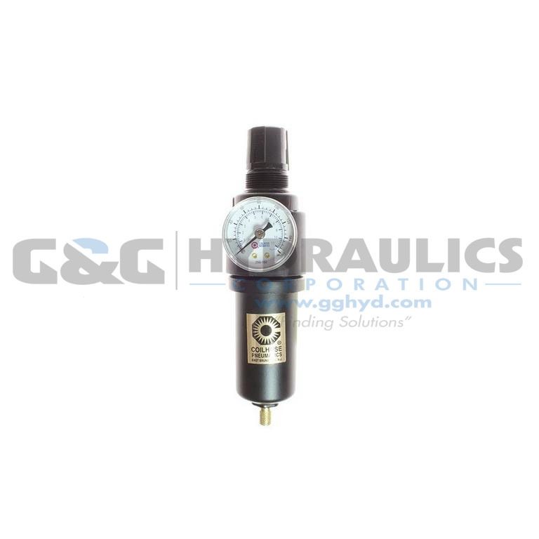 "26FC2-GM Coilhose 26 Series 1/4"" Integral Filter/Regulator, Gauge, Metal Bowl UPC #029292491303"