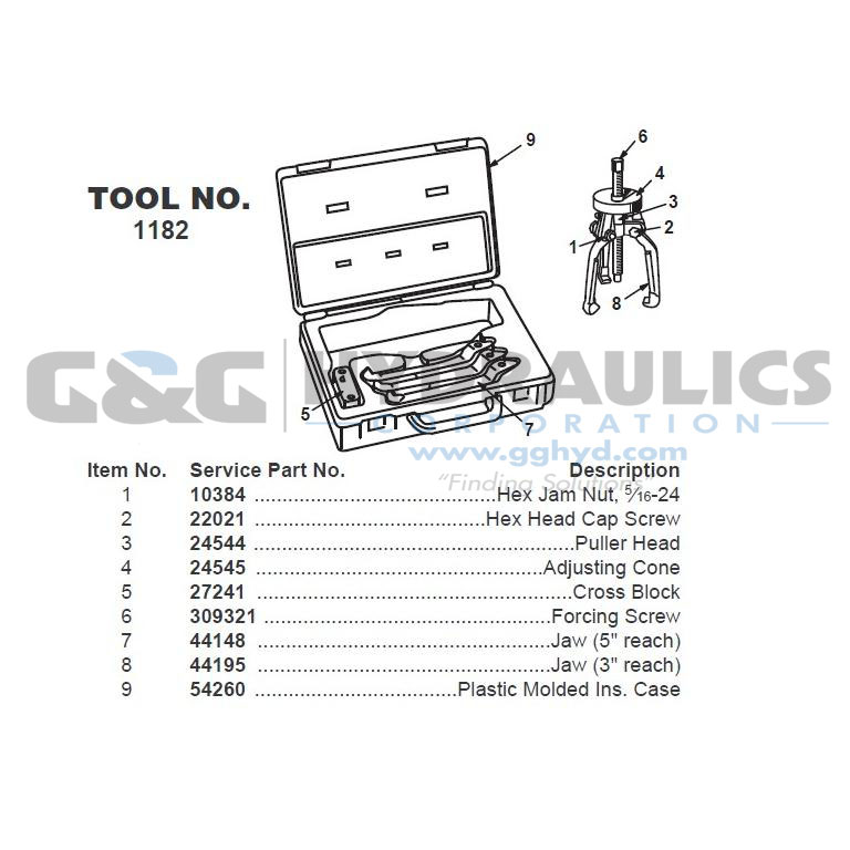 44148 SPX Power Team Slide Hammer Puller Set (1178), 2-Jaw Spread Inside Max (in.) - 5 1/2 UPC #662536233514