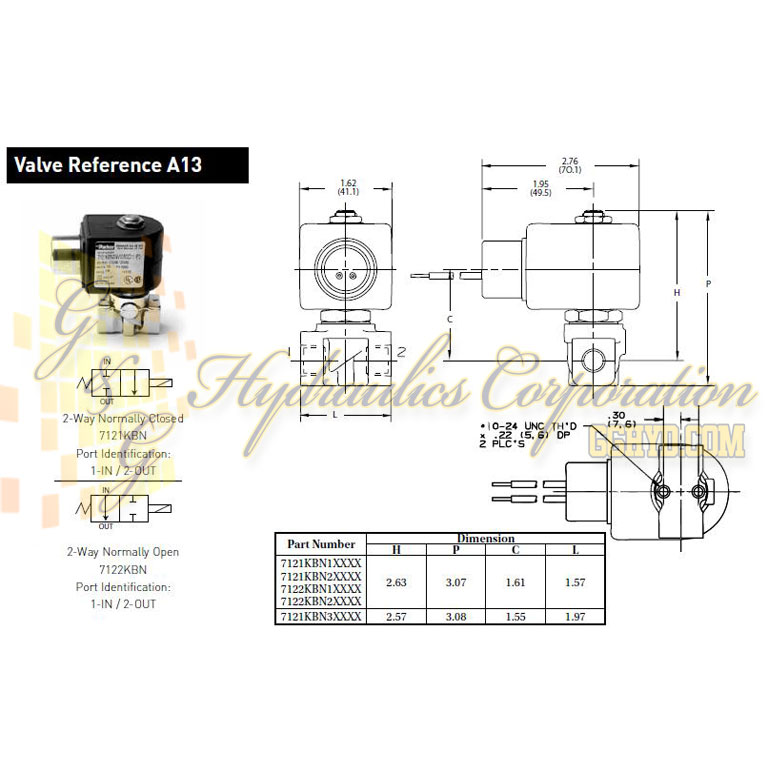 7121KBN2NV00N0H111P3 Parker Skinner 2-Way Normally Closed Direct Acting Brass Solenoid Valve 120/60-110/50V AC Hazardous Housing