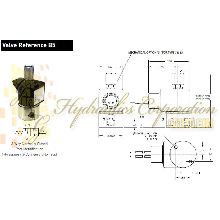 71315SN2GNJ1 Parker Skinner 3-Way Normally Closed Direct Acting Normally Closed Stainless Steel Vessel - Schematic