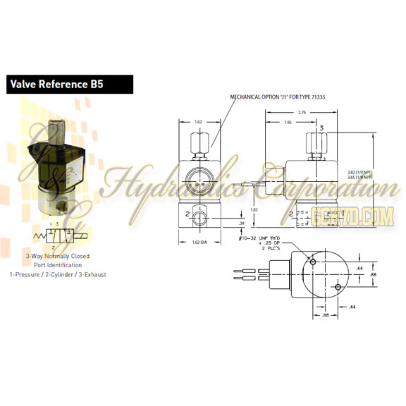 71315SN2MNJ1N0H111P3 Parker Skinner 3-Way Normally Closed Direct Acting Stainless Steel Solenoid Valve 120/60-110/50V AC Hazardous Housing - Schematic