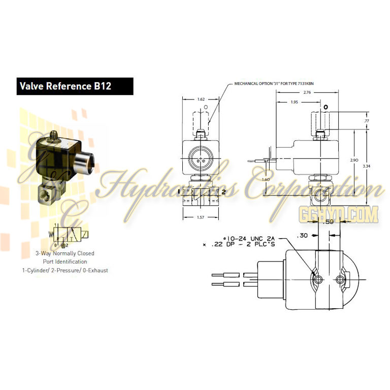 7131KBN2JV00N0C111P3 Parker Skinner 3-Way Normally Closed Direct Acting Brass Solenoid Valve 120/60-110/50V AC Conduit Housing - Schematic