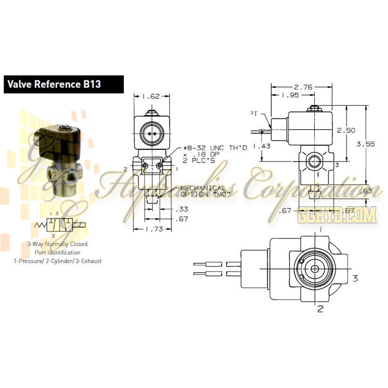 7131TBN2LV00N0L222C2 Parker Skinner 3-Way Normally Closed Direct Acting Brass Solenoid Valve 24V DC Conduit Housing - Schematic