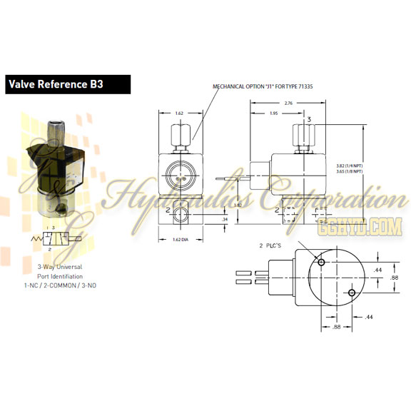 71335SN2GNJ1N0C111B2 Parker Skinner 3-Way Direct Acting Multipurpose Steel Solenoid Valve 24/60V AC Conduit Housing - Schematic