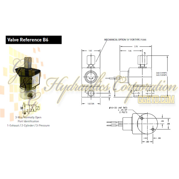 71395SN2GNJ1N0C111P3 Parker Skinner 3-Way Normally Open Direct Acting Stainless Steel Solenoid Valve 120/60-110/50V AC Conduit Housing - Schematic