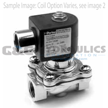 72218BN5VN00N0C111B2 Parker Skinner 2-Way Normally Closed Internal Pilot Operated Brass Solenoid Valve 24/60V AC Conduit Housing