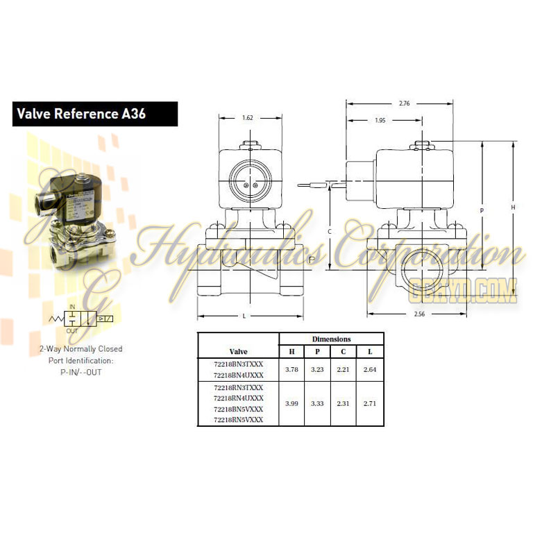 72218BN4UN00N0C111B2 Parker Skinner 2-Way Normally Closed Internal Pilot Operated Brass Solenoid Valve 24/60V AC Conduit Housing - Schematic
