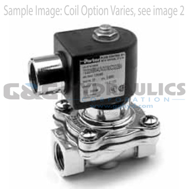 7221GBN64E00N0C111P3 Parker Skinner 2-Way Normally Closed Steam and Hot Water Brass Solenoid Valve 120/60-110/50V AC Conduit Housing