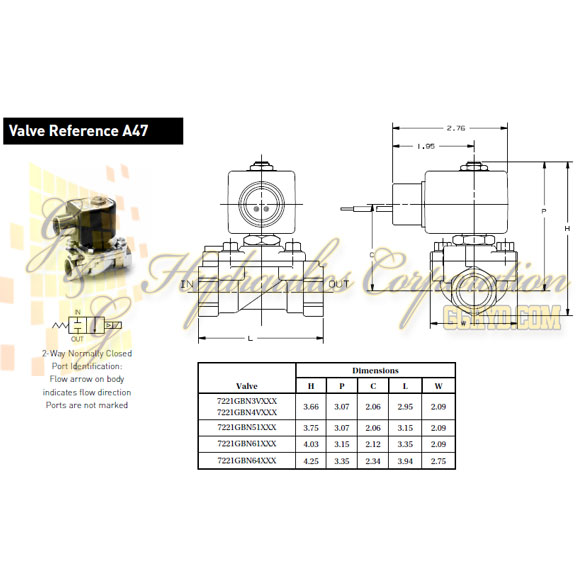 7221GBN64N00N0C322C2 Parker Skinner 2-Way Normally Closed Internal Pilot, Direct Lift Brass Solenoid Valve 24V DC Conduit Housing - Schematic