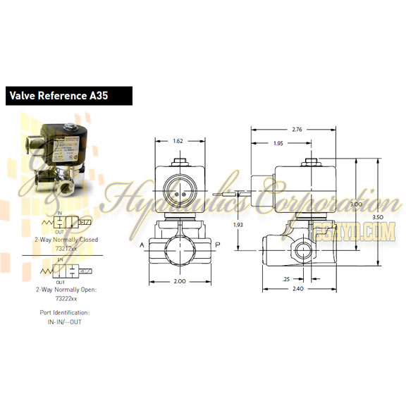 73212BN2MN00N0D100P3 Parker Skinner 2-Way Normally Closed Internal Pilot, Direct Lift Brass Solenoid Valve 120/60-110/50V AC DIN Housing - Schematic