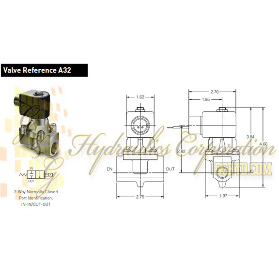 73212BN4TN00N0C111Q3 Parker Skinner 2-Way Normally Closed Internal Pilot Operated Direct Lift Brass Solenoid Valve 240/60-220/50V AC Conduit Housing - Schematic