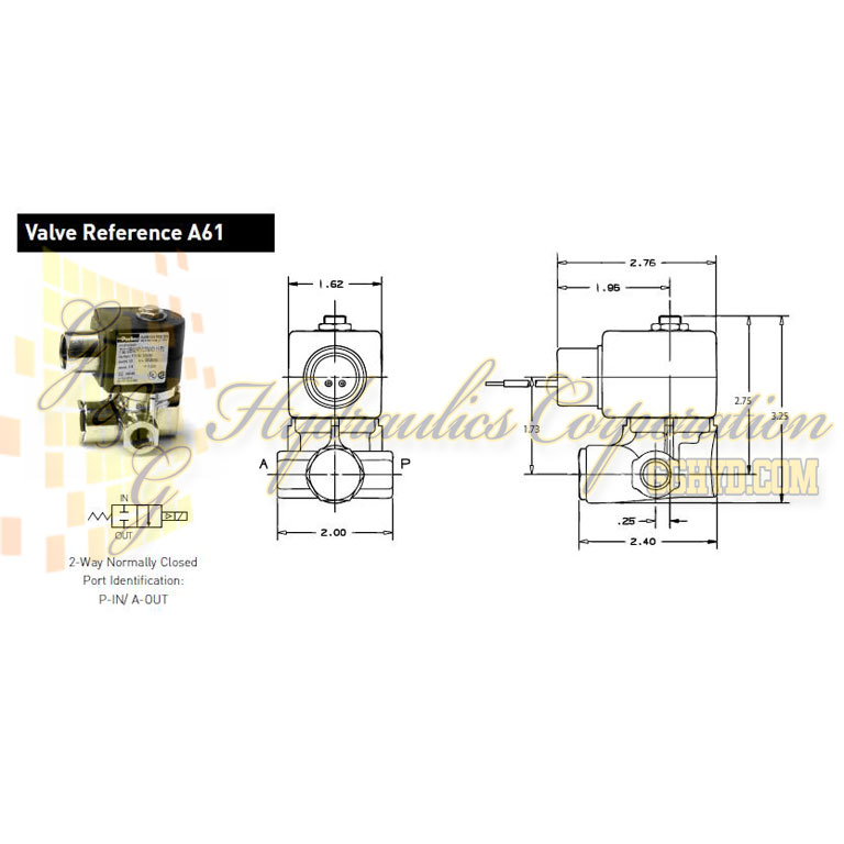 73216BN2MT00N0C111Q3 Parker Skinner 2-Way Normally Closed Internal Pilot, Direct Lift Brass Solenoid Valve 240/60-220/50V AC Conduit Housing - Schematic