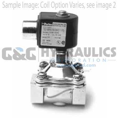 73218BN4UN00N0D100P3 Parker Skinner 2-Way Normally Closed Pilot Operated Internal Pilot Supply Brass Solenoid Valve 120/60-110/50V AC DIN Housing