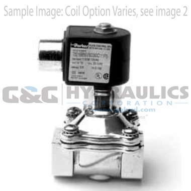 73218BN4UTS0N0C222P3 Parker Skinner 2-Way Normally Closed Steam and Hot Water Brass Solenoid Valve 120/60-110/50V AC Conduit Housing