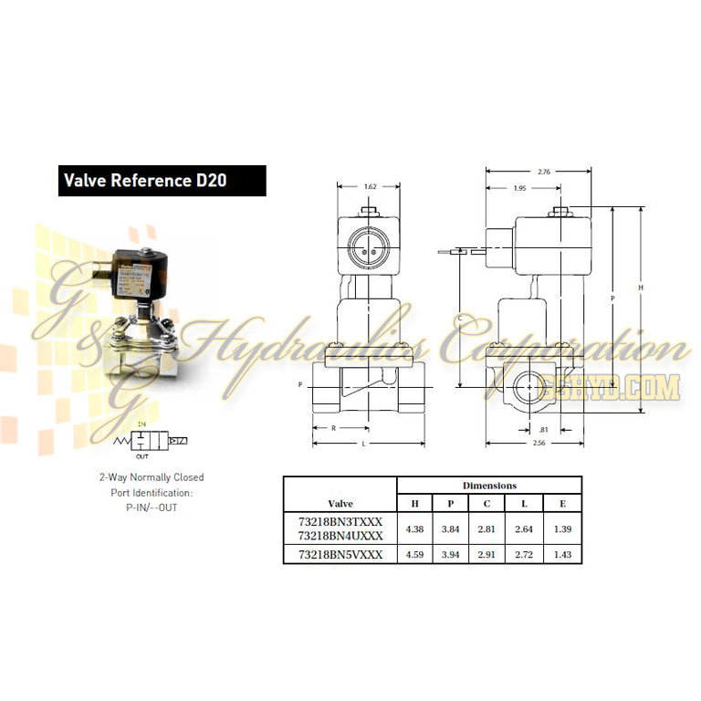 73218BN4UTS0N0C222Q3 Parker Skinner 2-Way Normally Closed Steam and Hot Water Brass Solenoid Valve 240/60-220/50V AC Conduit Housing - Schematic