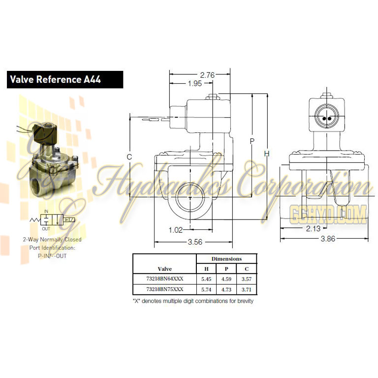 73218BN64N00N0D100C1 Parker Skinner 2-Way Normally Closed Internal Pilot Direct Lift Brass Solenoid Valve 12V DC DIN Housing - Schematic