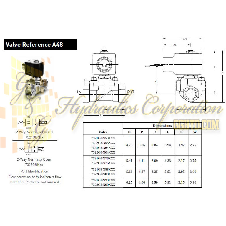 7321GBN53N00N0H111P3 Parker Skinner 2-Way Normally Closed Internal Pilot Operated Brass Solenoid Valve 120/60-110/50V AC Hazardous Housing - Schematic