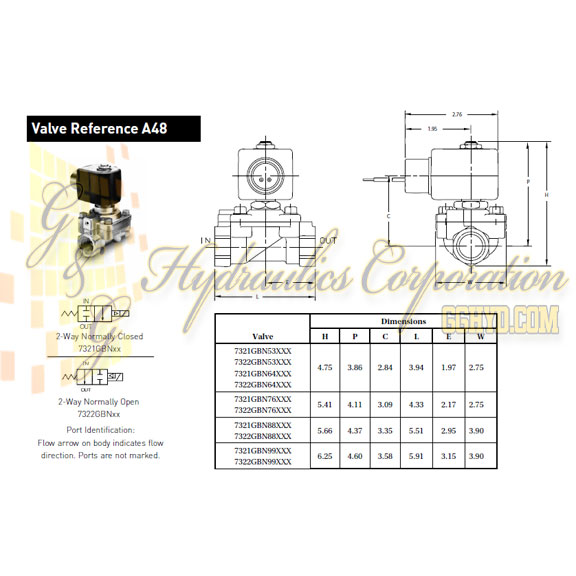 7321GBN99N00 Parker Skinner 2-Way Normally Closed Internal Pilot, Direct Lift Brass Pressure Vessel - Schematic