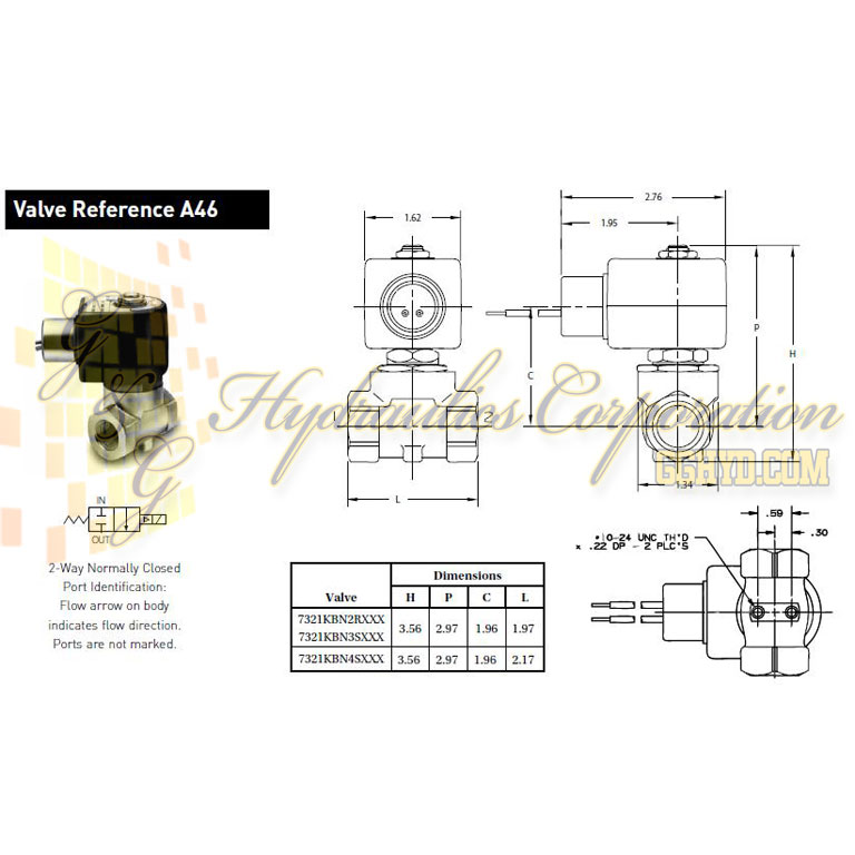 7321KBN3SN00N0H111P3 Parker Skinner 2-Way Normally Closed Internal Pilot Direct Lift Brass Solenoid Valve 120/60-110/50V AC Hazardous Housing - Schematic