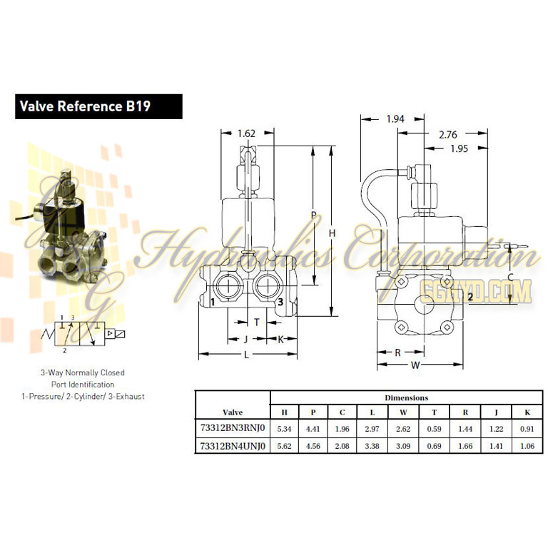 73312BN3RNJ0N0C222P3 Parker Skinner 3-Way Normally Closed Internally Pilot Operated Brass Solenoid Valve 120/60-110/50V AC Conduit Housing - Schematic
