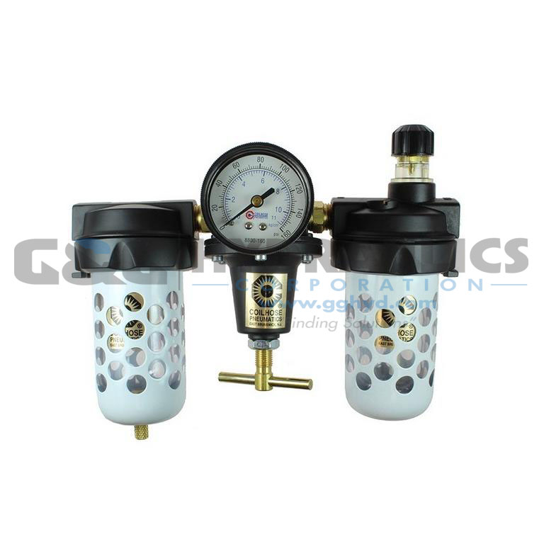 "8882AAGR Coilhose Heavy Duty Series Filter, Regulator, Lubricator, 1/4"", Gauge, Bowl Guard UPC #029292169509"