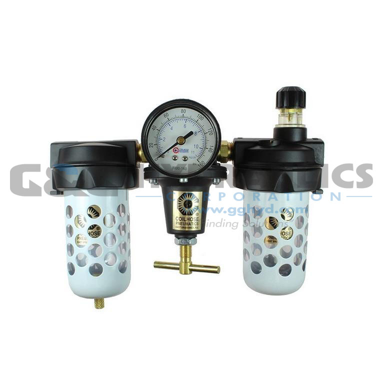 "8883AAGRD Coilhose Heavy Duty Series Filter, Regulator, Lubricator, 3/8"", Gauge, Bowl Guard, Automatic Drain UPC #029292169998"
