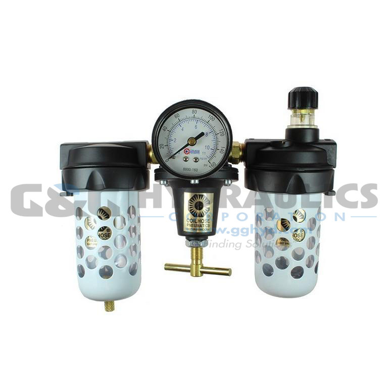 "8886AAGD Coilhose Heavy Duty Series Filter, Regulator, Lubricator, 3/4"", Gauge, Automatic Drain UPC #029292170550"