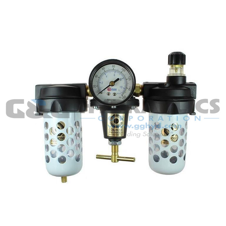 "8888AAGD Coilhose Heavy Duty Series Filter, Regulator, Lubricator, 1"", Gauge, Bowl Guard, Automatic Drain UPC #029292170970"