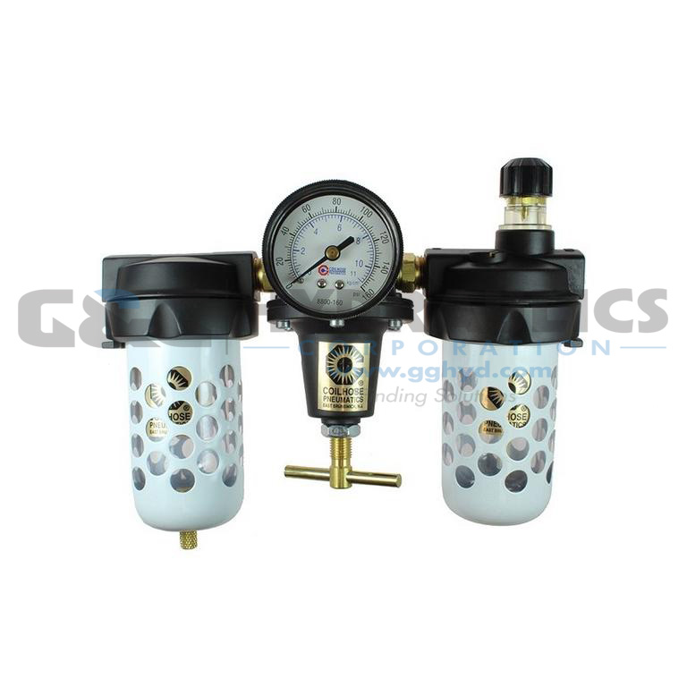 "8888AAGK Coilhose Heavy Duty Series Filter, Regulator, Lubricator, 1"", Gauge, Automatic Drain UPC #029292886758"