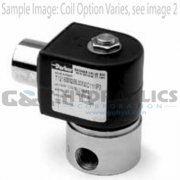"71225SN2KF00N0C111C1 Parker Skinner 2 Way Normally Open 1/4"" NPT Direct Acting Stainless Steel Solenoid Valve 12VDC Conduit - 1"