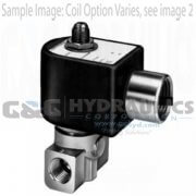 "7133KBN1LVJ1N0D100C2 Parker Skinner 3 Way Multi / Dual Purpose 1/8"" NPT Direct Acting Brass Solenoid Valve 24VDC DIN - 1"