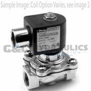 "72228RN5VV00N0H322C2 Parker Skinner 2 Way Normally Open 3/4"" NPT Direct Lift Stainless Steel Solenoid Valve 24VDC Conduit - 1"