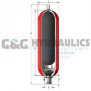 "A5TR610099XS Accumulator, Inc Accumulator, 5 Gallon, 6,000 PSI, 1-1/2"" Code 62 Split Flange Subseal, Buna"