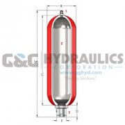 "A5GB61001 Accumulators, Inc Gas Bottle Accumulator, 5 Gallon, 6,000 PSI, 1-1/4"" NPT"