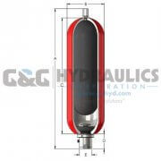 "A5TR61003L-C1-P0B Accumulator, Inc Accumulator, 5 Gallon, 6,000 PSI, 1-7/8"" SAE, Low Temp"