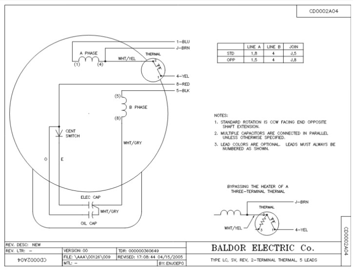 Baldor Motor Wiring Diagram Single Phase : Baldor hp single phase motor wiring diagram impremedia