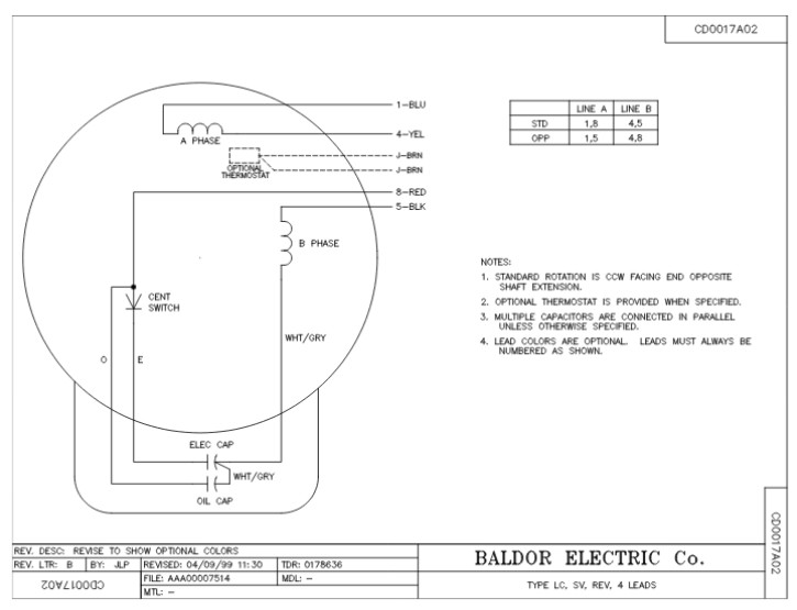 l1430t baldor single phase open foot mounted 5hp 1725rpm 184t rh gghyd com Single Phase Capacitor Motor Wiring Diagrams Baldor 1.5 HP Wiring Diagrams