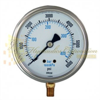 "RV132A5N332KG ENFM Series 7211 Liquid Filled Pressure Gauge, 1/4"" NPT Bottom Connection, 4"" Gauge Size, 0-6000 PSI"