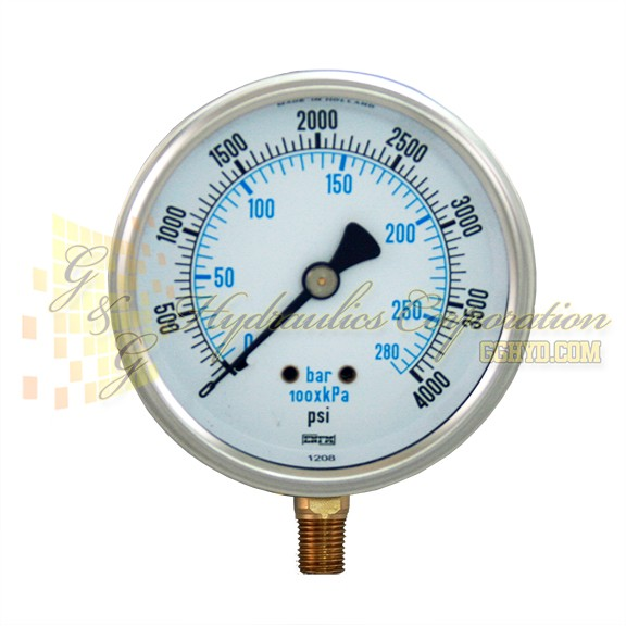"RV132A5N329KG ENFM Series 7211 Liquid Filled Pressure Gauge, 1/4"" NPT Bottom Connection, 4"" Gauge Size, 0-4000 PSI"