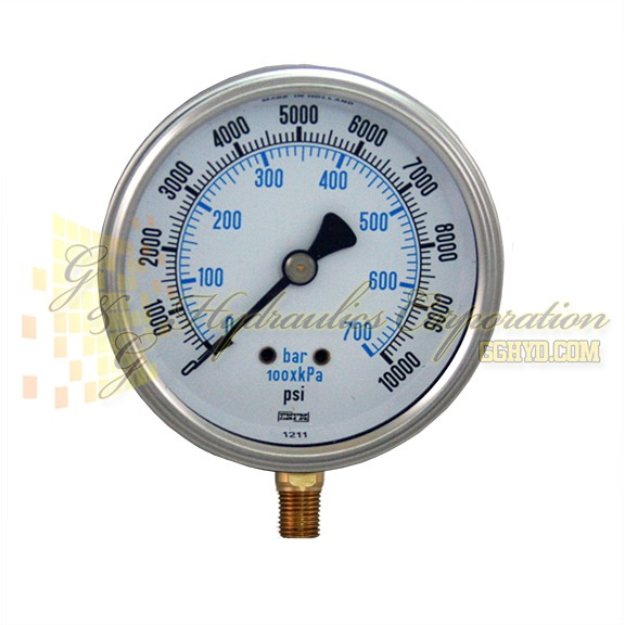 "RV132A5N334KG ENFM Series 7211 Liquid Filled Pressure Gauge, 1/4"" NPT Bottom Connection, 4"" Gauge Size, 0-10000 PSI"