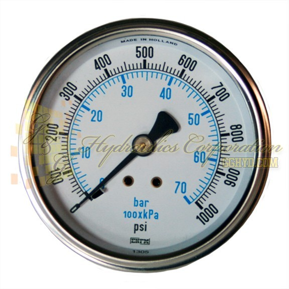 "RV132C3N323KG ENFM Series 7214 Liquid Filled Pressure Gauge 1/4"" NPT Center Back Connection 2 1/2"" Gauge Size 0-1000 PSI"