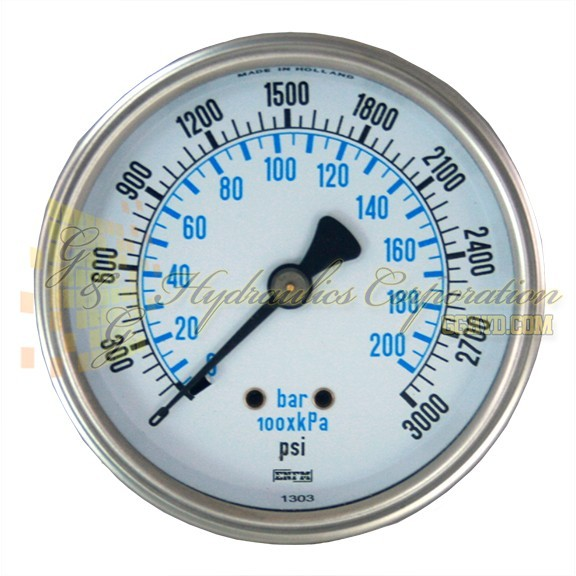 "RV132C3N327KG ENFM Series 7214 Liquid Filled Pressure Gauge 1/4"" NPT Center Back Connection 2 1/2"" Gauge Size 0-3000 PSI"